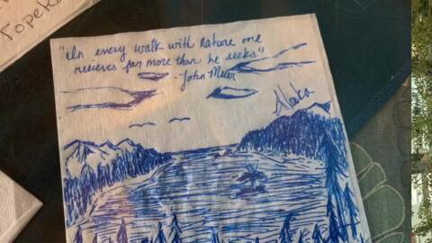 Spontaneous napkin art project decorates local restaurant