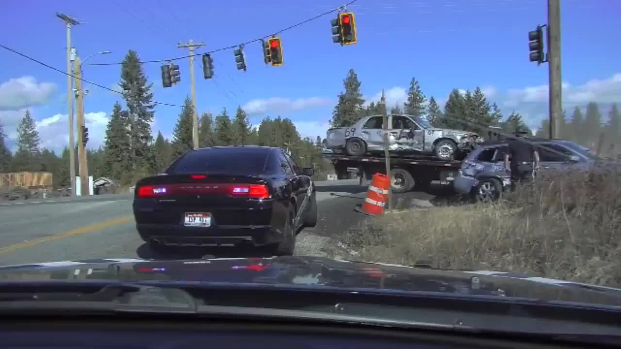 Dashcam video shows Idaho trooper was nearly hit while investigating another crash