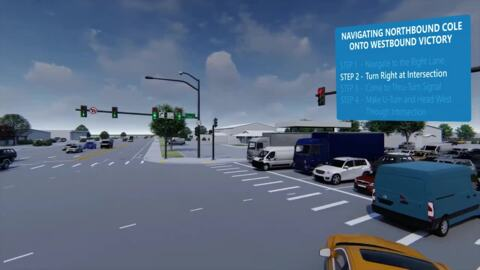 How to use thru-turn intersection at Cole and Victory roads