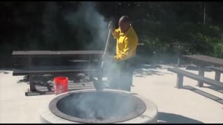 US Forest Service teaches how to properly start and put out a campfire