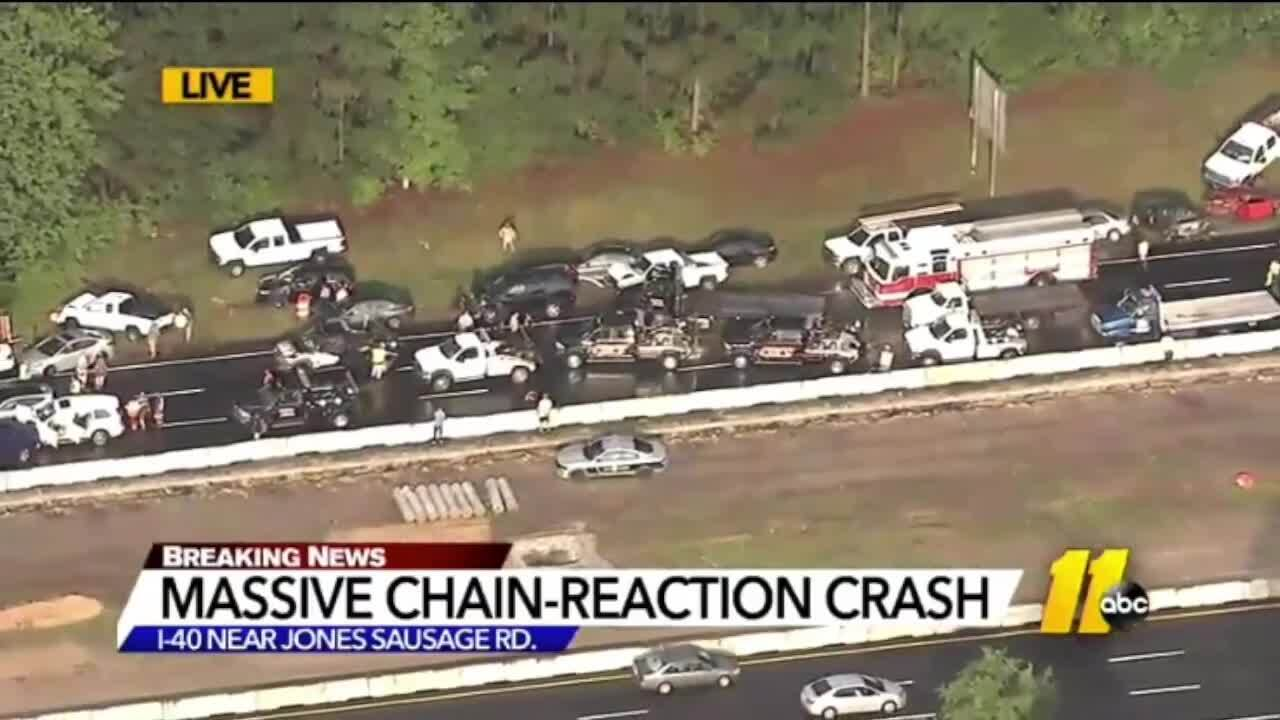 25 cars pile up on I-40 | Raleigh News & Observer