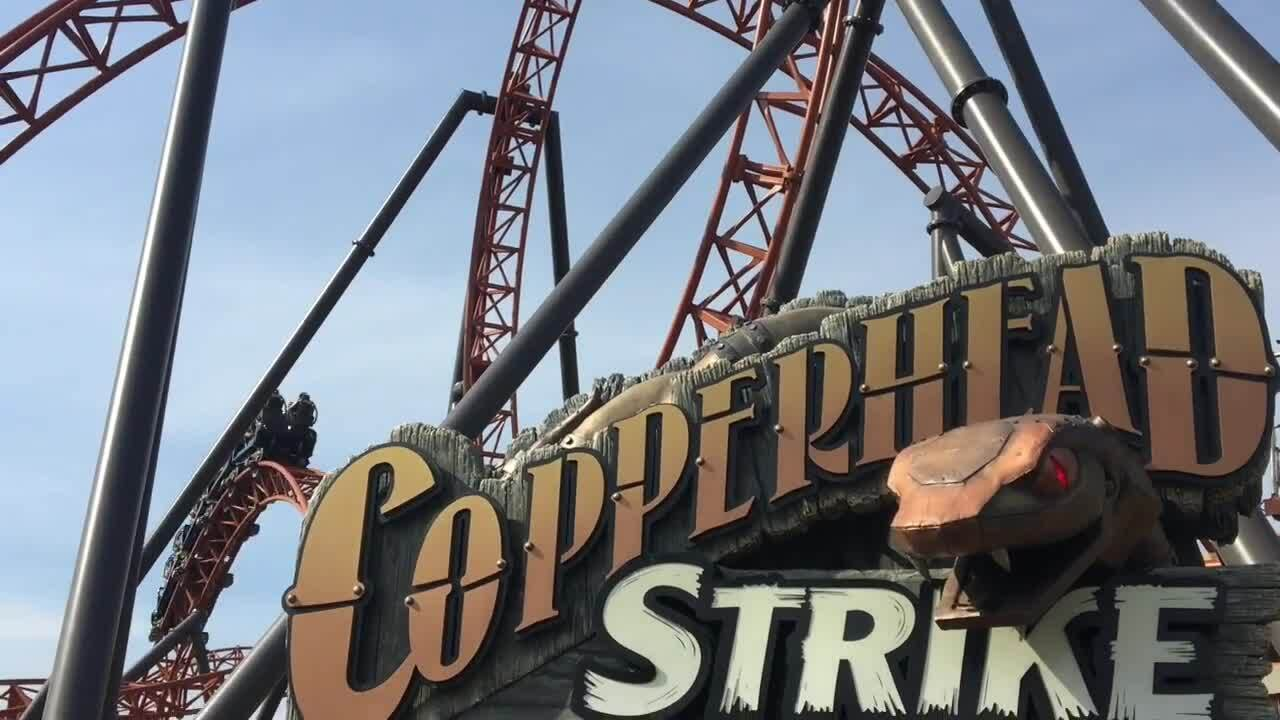 Testing out Carowinds' new Copperhead Strike roller coaster