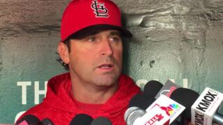 Mike Matheny talks before home opener