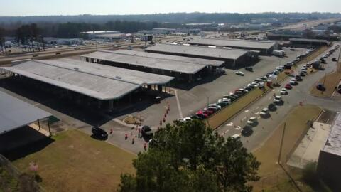 Watch drone flyover of mass COVID vaccination site in Macon