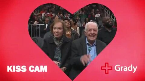 'Kiss cam' captures former President Jimmy Carter and wife Rosalynn on Valentine's Day