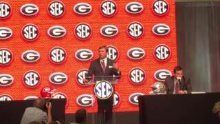 Georgia head coach Kirby Smart praises assistant coach Dell McGee