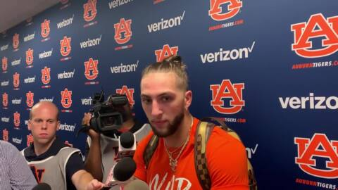 Auburn receiver Sal Cannella reacts to the Tigers' 56-23 win over Mississippi State