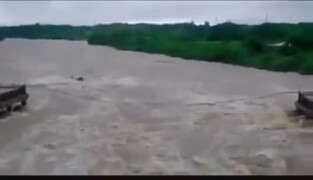 Bridge is washed out by heavy rains from subtropical storm Alberto in Cuba