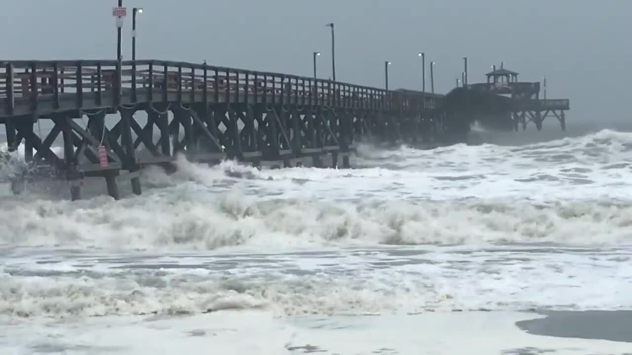 Hurricane Dorian Waves Lash Cherry Grove Pier During High