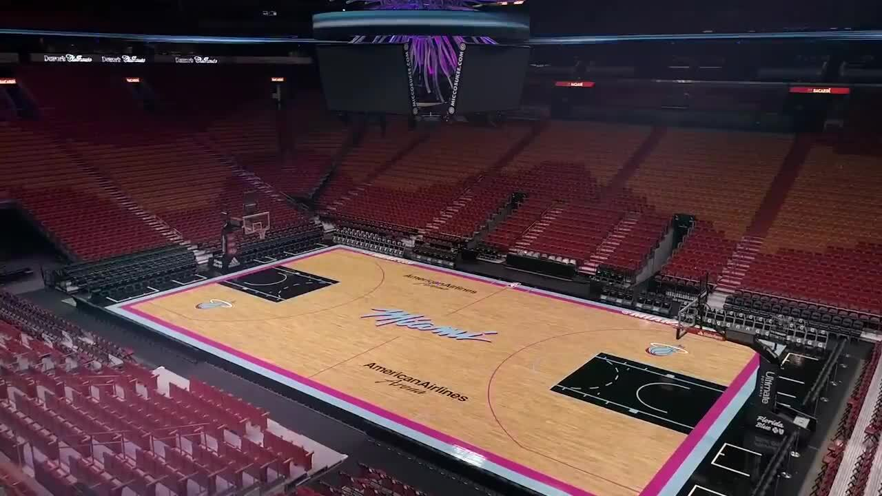 Miami Heat Unveil Vice Themed Basketball Court Miami Herald