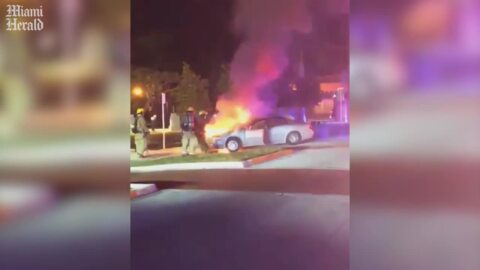 A vehicle goes up in flames in Key West. The owner also got a traffic ticket