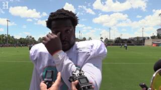 Dolphins DT Kendall Langford gets emotional when talking about the death of his newborn son last season