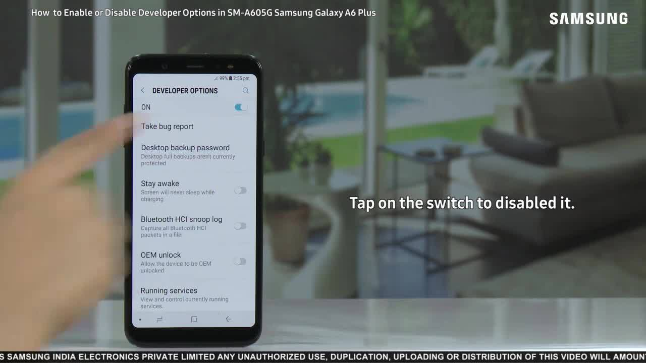 Galaxy A6 Plus: Enable or Disable Developer Options
