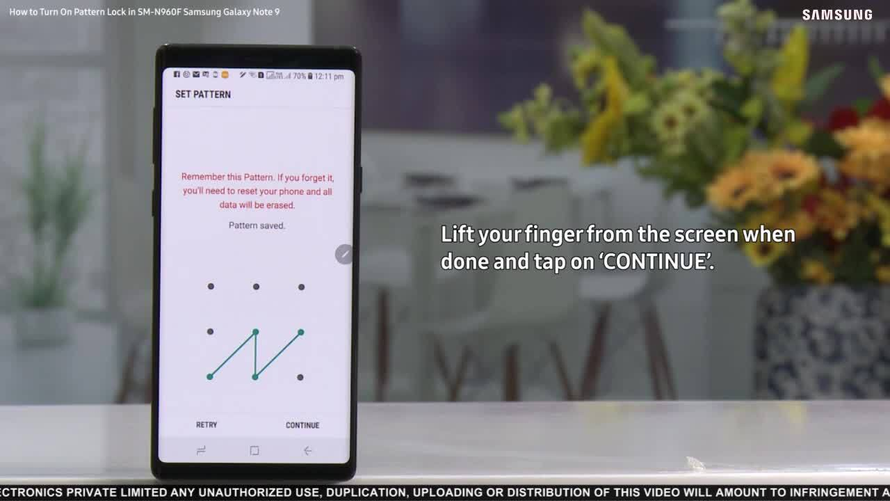 Galaxy Note 9: How to Turn On Pattern Lock? | Samsung