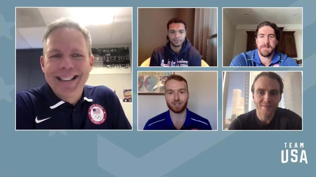 Declan Farmer, Seth Jones, Patrick Kane, Ryan McDonagh   Beijing 2022 Team USA Media Summit