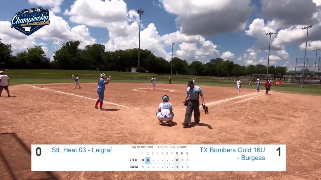 16 GOLD   July 22   2 pm Field 7   St. Louis Heat Leigraf vs TX Bombers Burgess