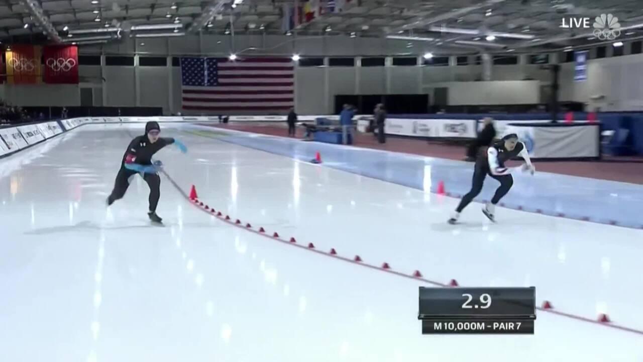 Emery Lehman Skates To Victory In The Men's 10,000m | U.S. Olympic Trials Speedskating