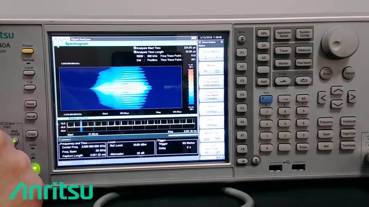 Anritsu's VSA analysis strengths illustrated with a complex modulated true radar signal