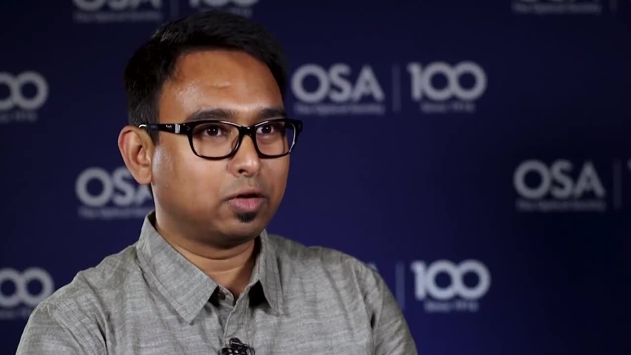 Iman Kundu talks about knowing as an undergad that he wanted to study optics and photonics--OSA Stories