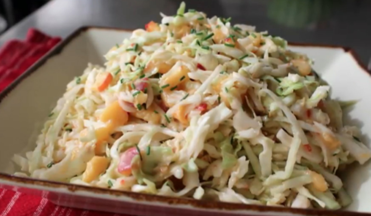 spicy peach coleslaw video