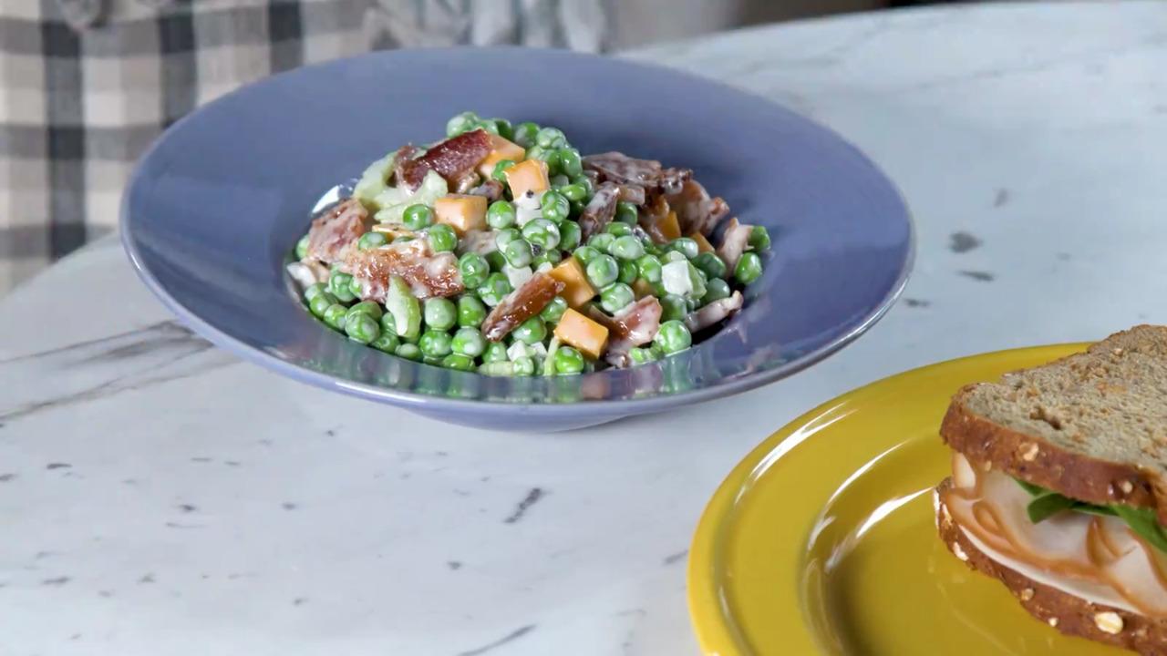 bacon pea salad video