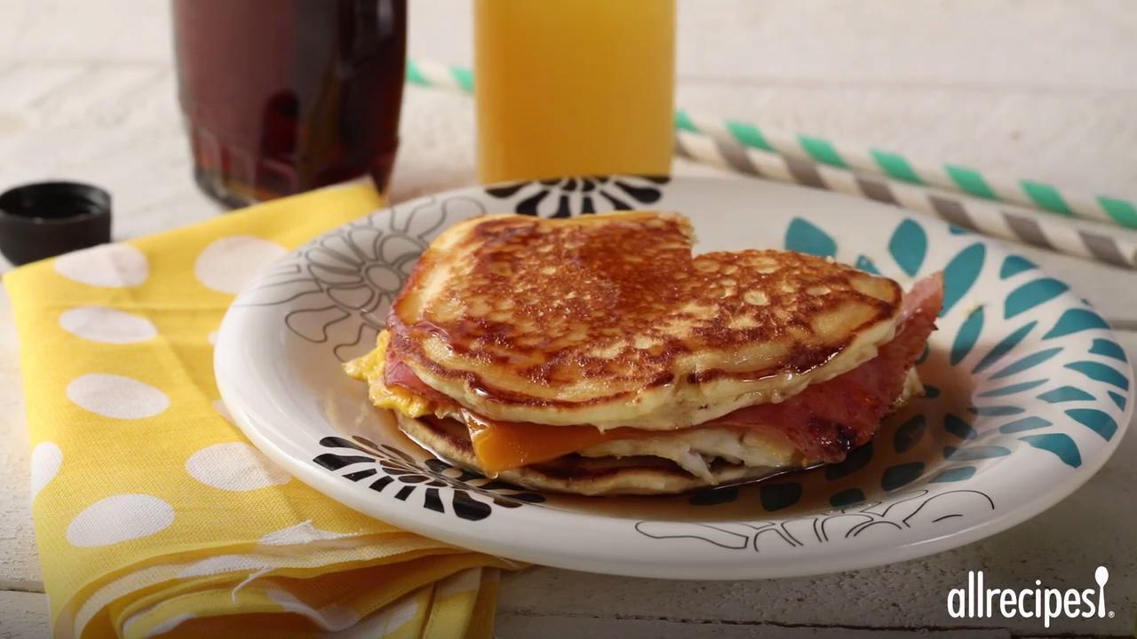 leftover pancake breakfast sandwich video