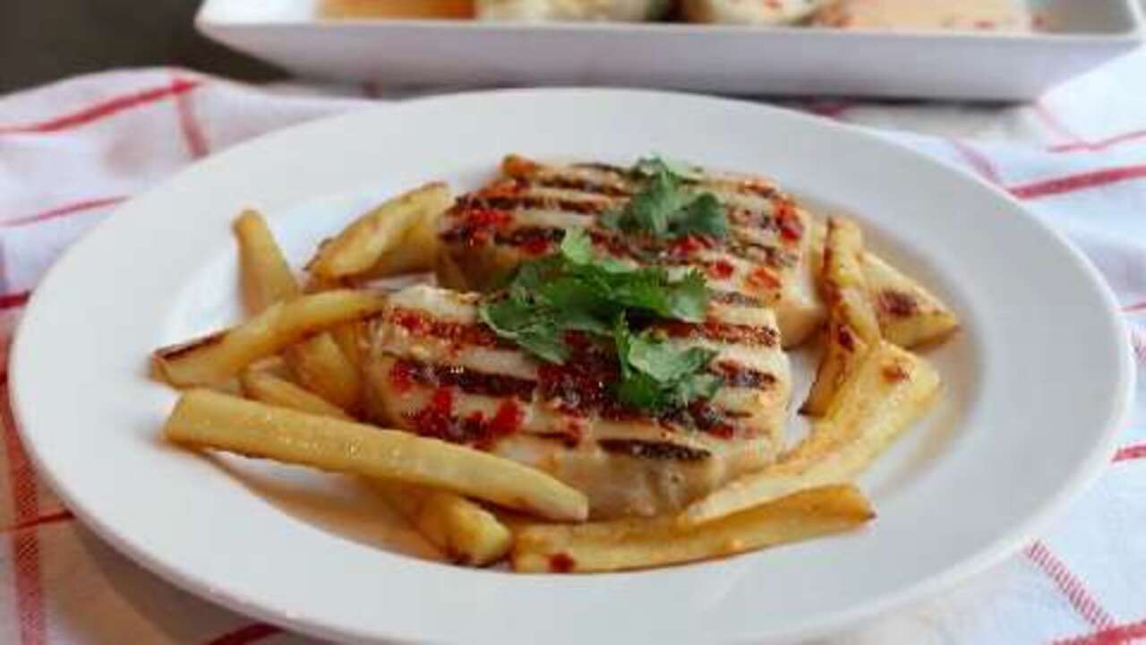 grilled sea bass with chili lime dressing video