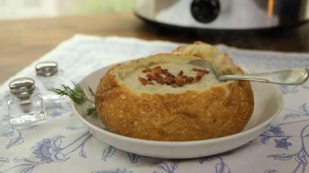 slow cooker creamy potato soup video