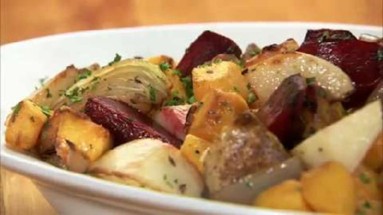 how to roast winter vegetables video