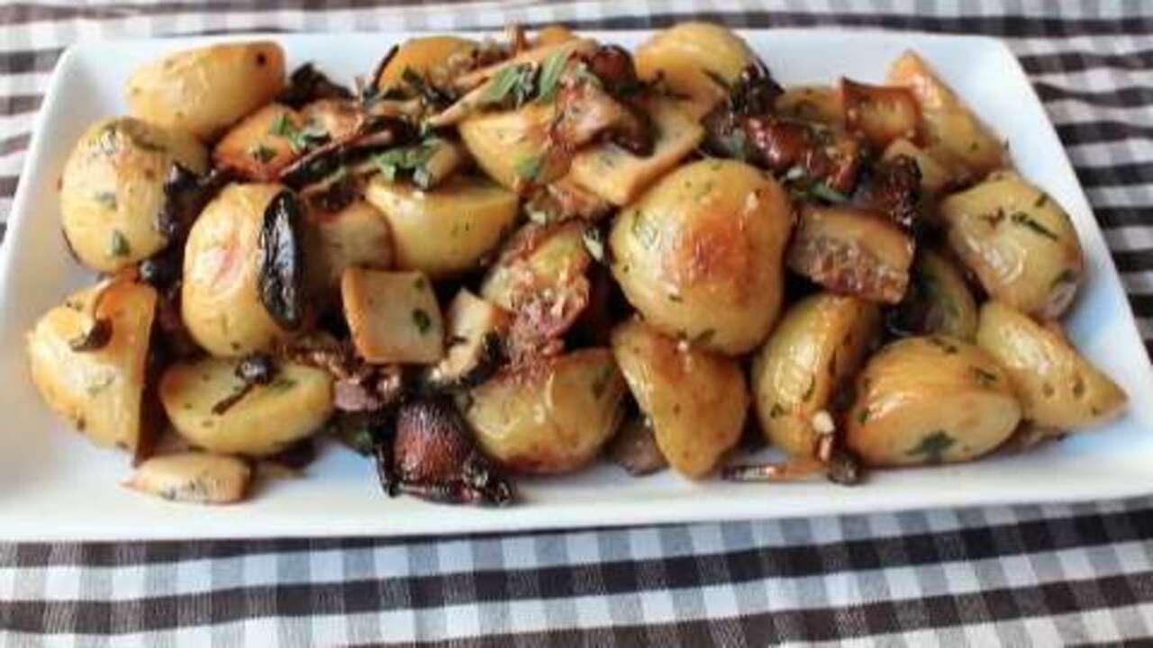 roasted wild mushrooms potatoes video
