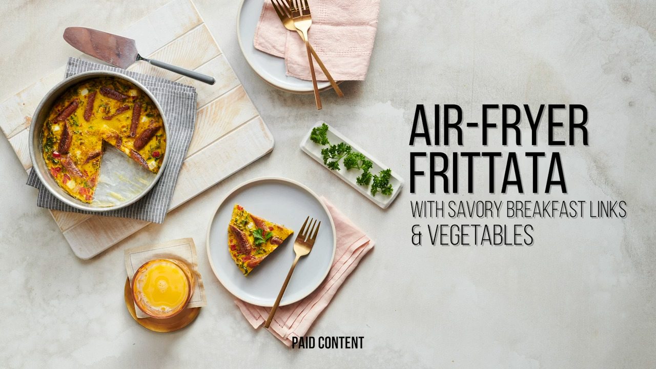 air fryer frittata with savory breakfast links and vegetables video