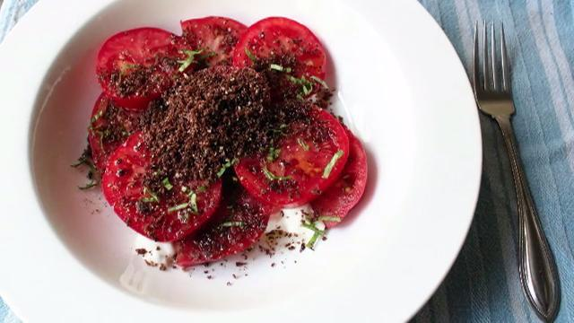chef johns tomato and dirt salad video