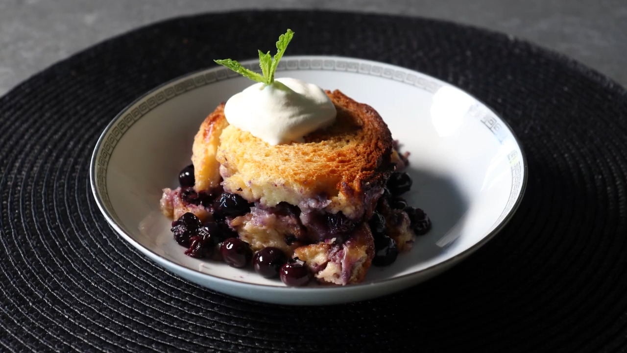 the best blueberry bread pudding video