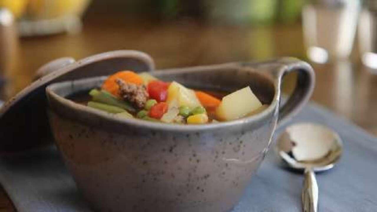 easy vegetable beef soup video
