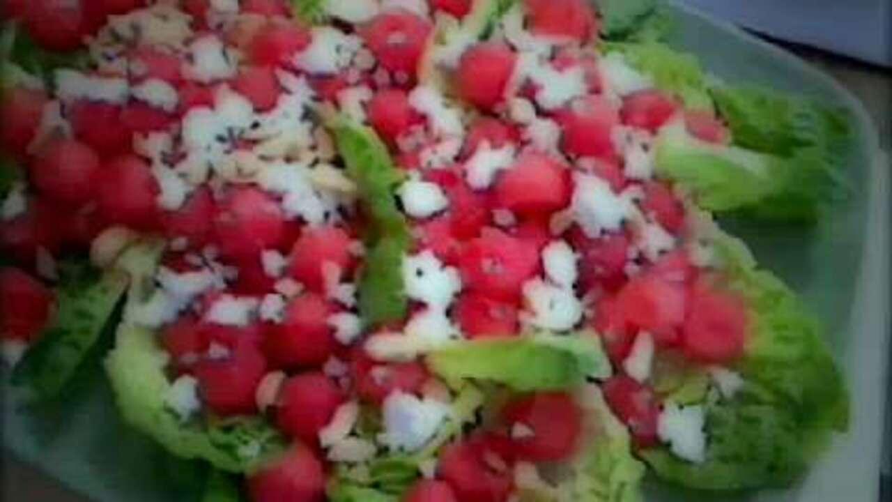 watermelon feta and cashew salad video