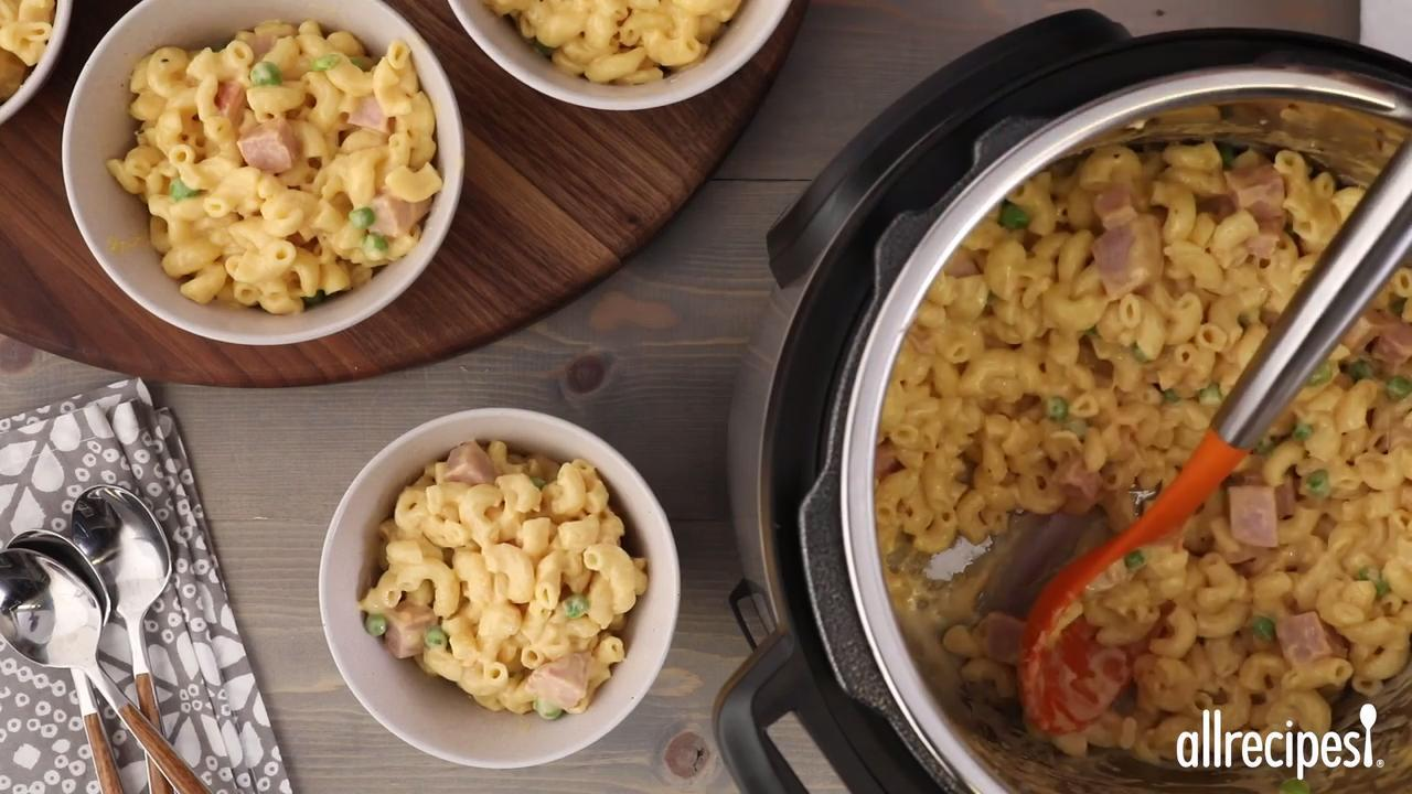instant pot mac and cheese with ham and peas video