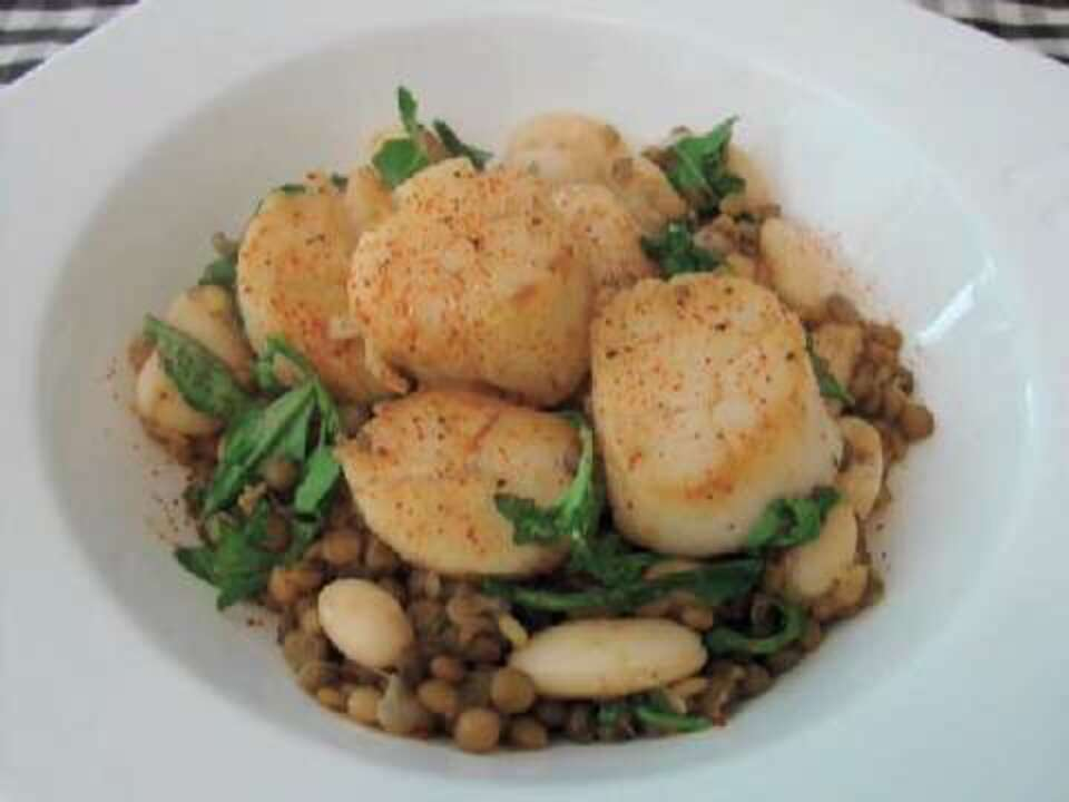 scallops with arugula lentils and butter beans video