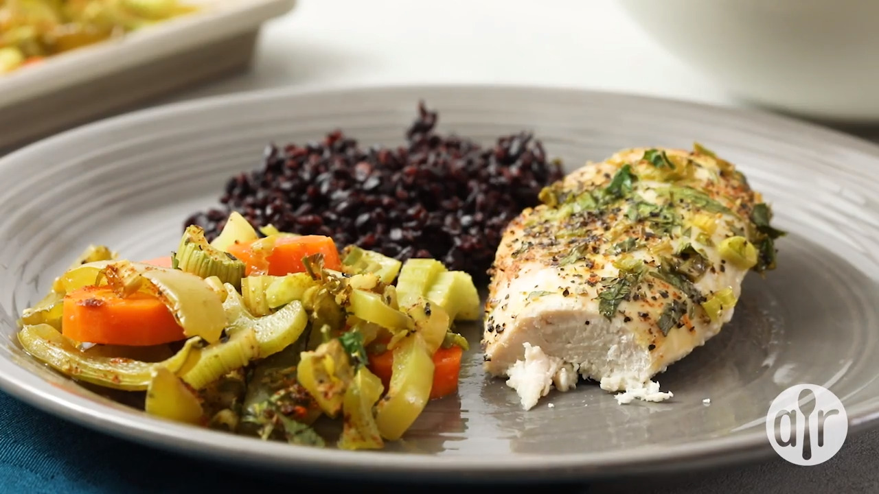 baked chicken breasts and vegetables video