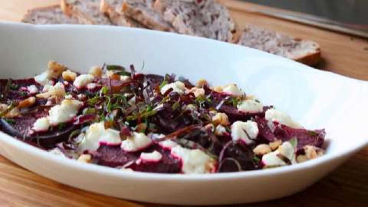 roasted beets with goat cheese walnuts video