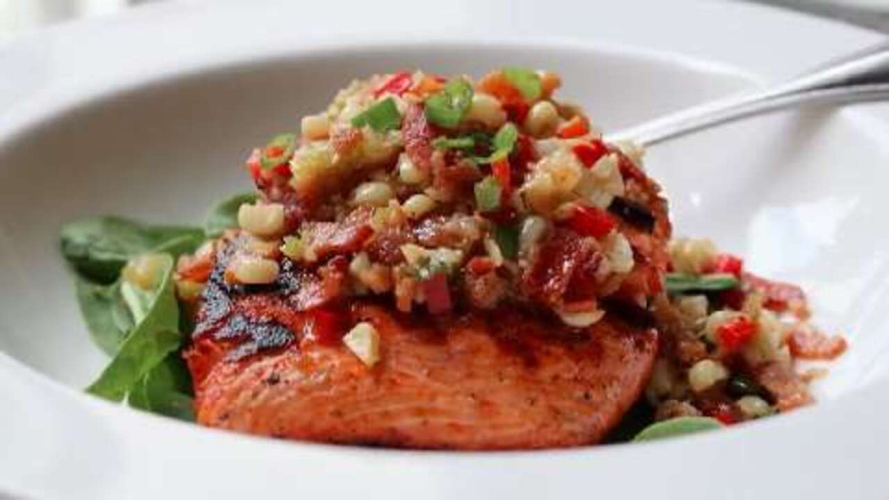 Grilled Salmon with Bacon and Corn Relish Video