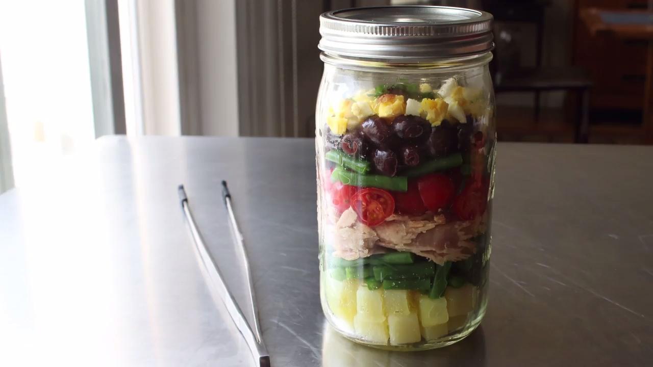 layered norcal nicoise salad video