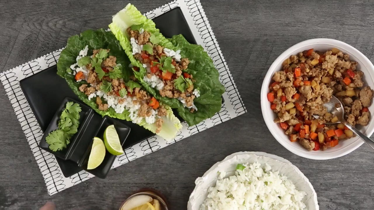 pork lettuce wraps with coconut lime rice video