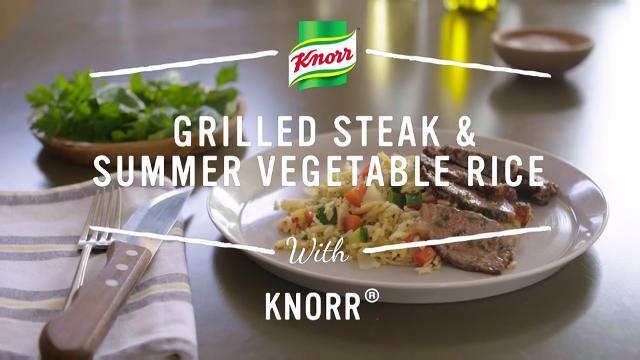 grilled steak summer vegetable rice video