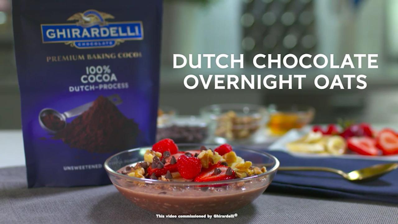 ghirardelli dutch chocolate overnight oats video