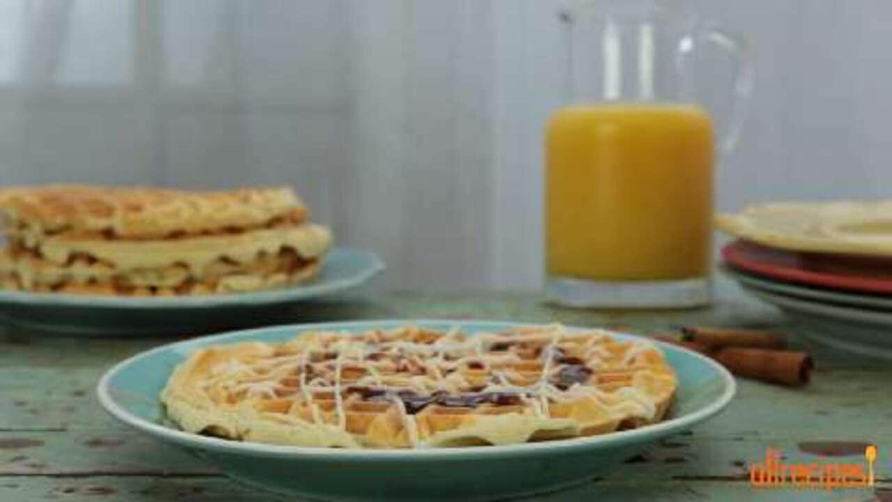 cinnamon roll waffles video