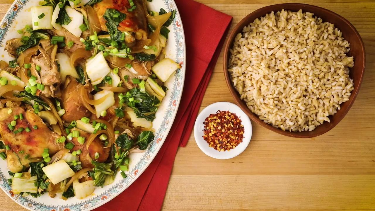 slow cooker adobo chicken with bok choy video