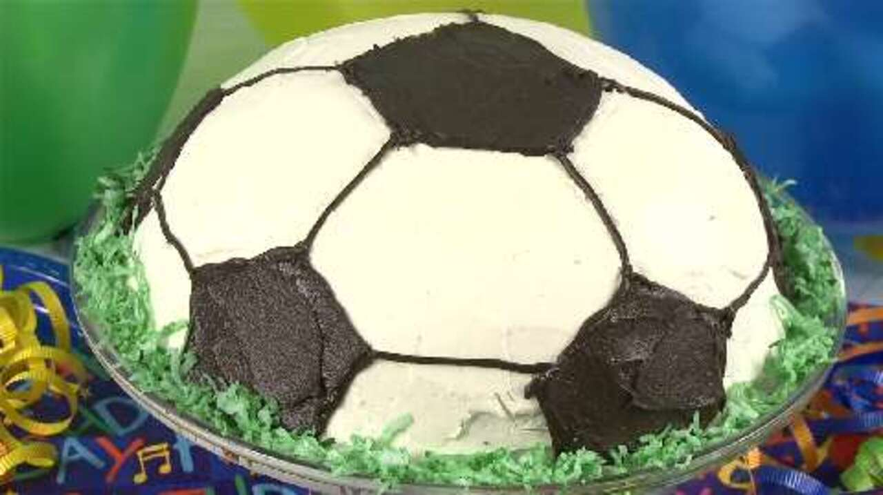 Pleasing Soccer Ball Cake Video Allrecipes Com Personalised Birthday Cards Veneteletsinfo