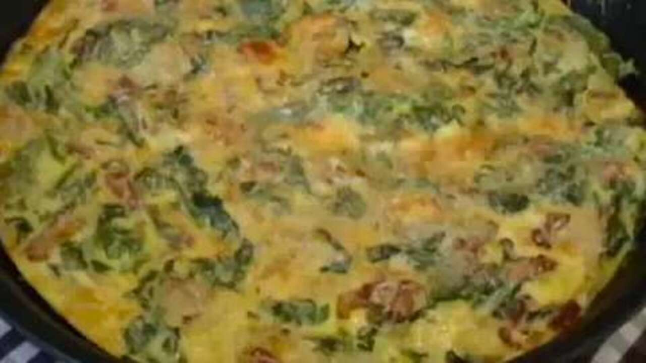 bacon and potato frittata with greens video