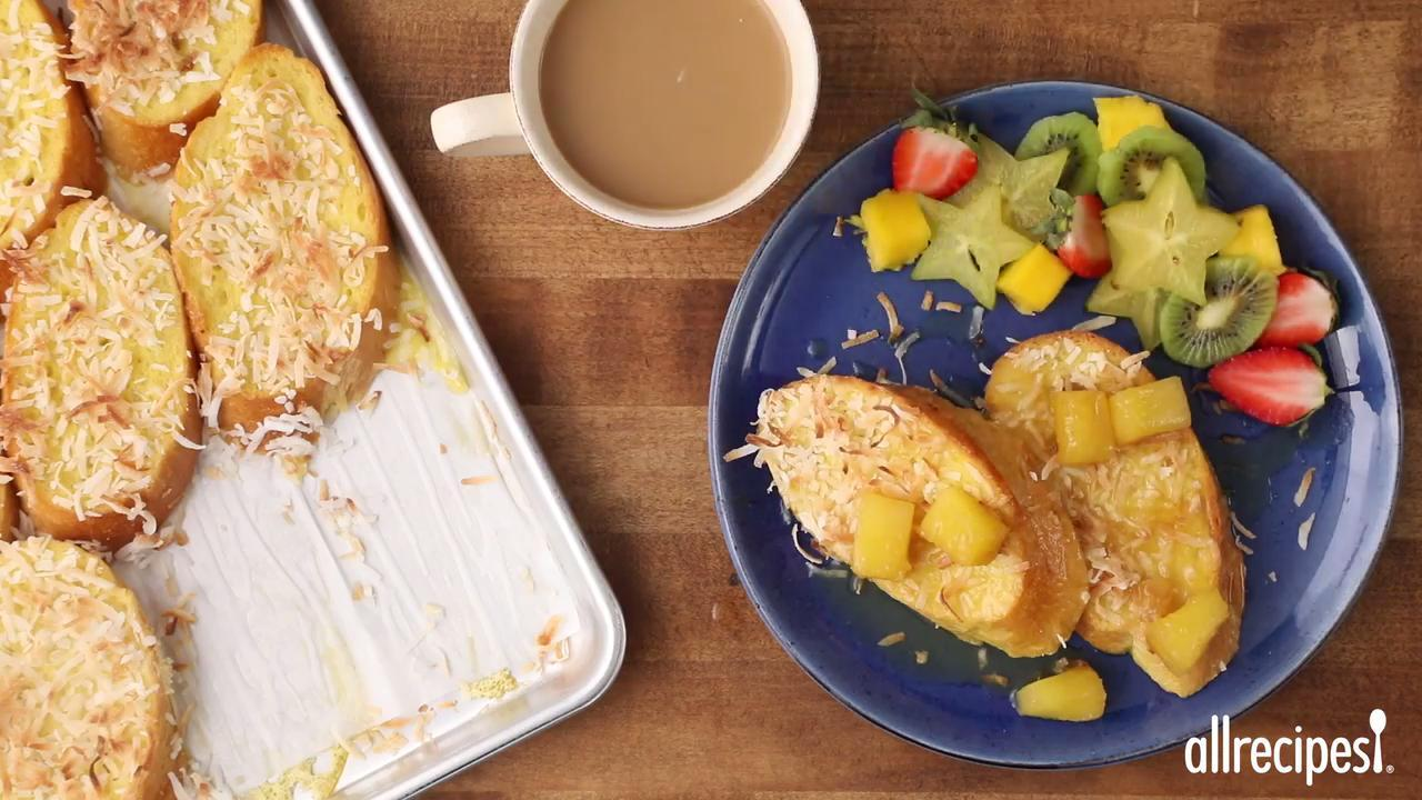 baked coconut french toast with pineapple rum sauce video