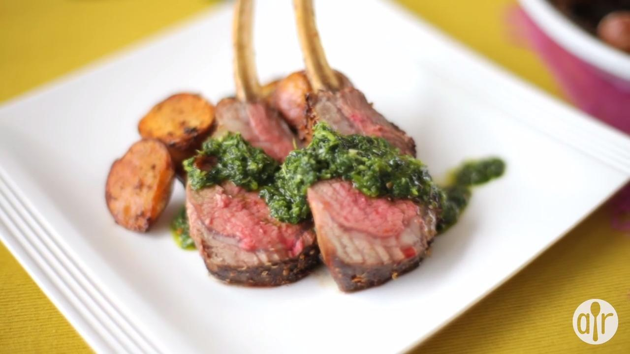 spice crusted roast rack of lamb with cilantro mint sauce video